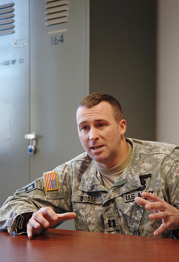 Cpt. Paul Bosse of Auburn and approximately 150 fellow servicemen with the Maine Army National Guard's 172nd Mountain Infantry Company based in Brewer, will be deployed Dec. 8 for mobilization training followed by a tour of Afghanistan. Bosse, who has been in some form of military service for 16 years, said Tuesday, Dec. 1, 2009 that it will be his second combat tour, the first of which was spent in Iraq in 2006 and 2007. (Bangor Daily News/Bridget Brown)