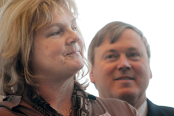 Carla and Danny Lafayette were among the generous donors attending Wednesday's ribbon cutting and tour of the new Lafayette Family Cancer Center on Whiting Hill in Brewer. (Bangor Daily News/John Clarke Russ)