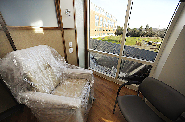 One of several recovery rooms for cancer care patients which afford a comfortable place to rest and  a sweeping view of the surrounding area from atop Whiting Hill. Photographed during  Wednesday's ribbon cutting and tour of the new Lafayette Family Cancer Center in Brewer. (Bangor Daily News/John Clarke Russ)