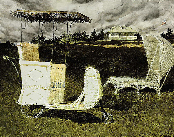 This image provided by Christie's shows a 1982 acrylic and watercolor painting by Jamie Wyeth titled &quotA Couple of Chairs Sitting Around the Coast of Maine.&quot It is part of three generations of Wyeth artworks that will be auctioned next month; including 14 original oil canvases by N.C. Wyeth that were used to lavishly illustrate the classic adventure tale of &quotRobinson Crusoe.&quot The Dec. 2 sale at Christie's; includes works by N.C. Wyeth; his son; Andrew; and grandson; Jamie. (AP Photo/Christie's)