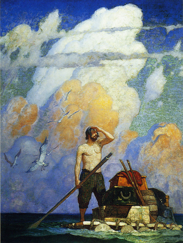 This image provided by Christie's shows an oil painting by N.C. Wyeth titled &quot&quotFor a mile, or thereabouts, my raft went very well,&quot that illustrated an edition of &quotRobinson Crusoe.&quot It is part of three generations of Wyeth artworks that will be auctioned next month, including 14 original oil canvases by N.C. Wyeth that  lavishly illustrated the classic adventure tale. The Dec. 2 sale at Christie's; includes works by N.C. Wyeth; his son; Andrew; and grandson; Jamie. (AP Photo/Christie's)