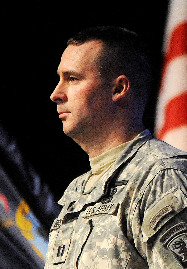 Captain Paul A. Bosse  is the commandor of Brewer based Maine Army National Guard B Company 3rd Battalion 172nd Mountain Infantry who are leaving Tuesday for a one year deployment to Afghanistan.   (Bangor Daily News/Gabor Degre)
