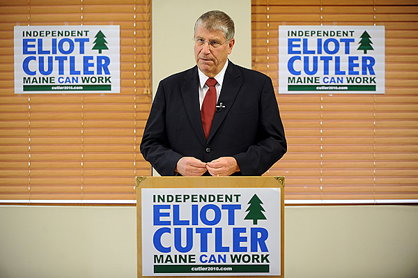 Eliot Cutler of Cape Elizabeth at a press conference in Bangor. (Bangor Daily News/Gabor Degre)