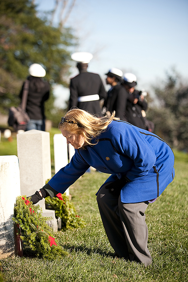 Dec. 12, 2009-Rep. Chellie Pingree (D-ME) places a wreath during the annual wreath-laying ceremony at Arlington National Cemetery. The Worcester Wreath Company, based in Harrington, Maine,    donates thousands of balsam fir wreaths for volunteers who place wreaths on the graves of fallen soldiers.