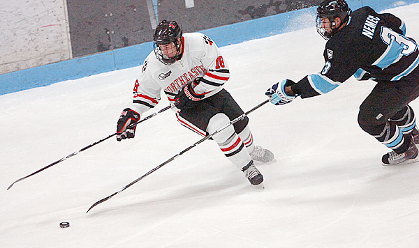 Northeastern's Mike McLaughlin (left) battles for the puck against the University of Maine's Mark Nemec in the second period of Saturday's game, Dec. 12, 2009 at the Alfond Arena in Orono. Maine won 5-1. (Bangor Daily News/Bridget Brown)