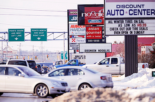 A view of traffic the commercial district on Wilson Street in Brewer Monday, December 14, 2009. The Brewer City Council is having an emergency special meeting on Tuesday morning, December 15, 2009 to decide whether to impose a six-month moratorium for a proposed medicinal marijauna dispensary. BANGOR DAILY NEWS PHOTO BY JOHN CLARKE RUSS
