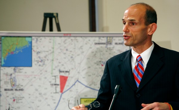 Maine Gov. John Baldacci announces at a news conference in Augusta, Maine, on Tuesday Dec. 15, 2009  that 3 offshore wind-power test sites have been chosen.  Baldacci said that test windmills will first appear in 2011 and that the winds off Maine's shores have a potential to produce the equivalent of 149 nuclear plants. Adding that the test sites would  be the first of their kind in the nation. (AP Photo/Pat Wellenbach)