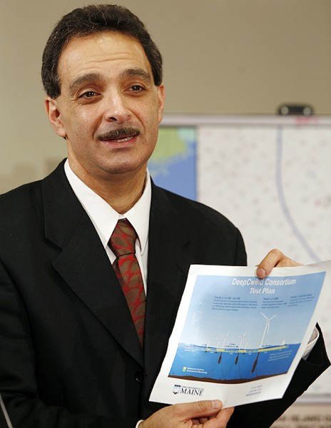 University of Maine Professor Habib Dagher shows of an illustration at a news conference in Augusta, Maine, on Tuesday Dec. 15, 2009 where it was announced  that 3 offshore wind-power test sites have been chosen.  Dagher, who is leading the study, said test windmills will first appear in 2011 and that the winds off Maine's shores have a potential to produce the equivalent of 149 nuclear plants. Adding that the test sites would  be the first of their kind in the nation.