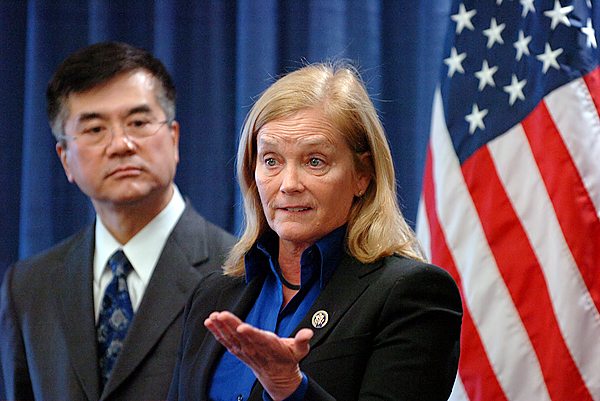 Congresswoman Chellie Pingree speaks at at press conference Thursday, Dec. 17, 2009 at the University of Maine Orono campus, which was also attended by U.S. Commerce Secretary Gary Locke (left) who announced a $25.4 million Recovery Act investment to help bring broadband Internet to rural Maine.