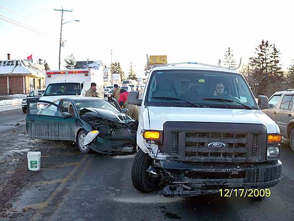 Three people were injured on Thursday afternoon in a two vehicle crash on Main Street in Presque Isle. The two vehicles collided after Taylor Pike, 19, of Caribou, pulled into traffic and did not see an oncoming vehicle driven by Robert Lachance, 44, of Old Town. Three people were taken to The Aroostook Medical Center with non-life threatening injuries. (PHOTO COURTESY OF THE PRESQUE ISLE POLICE DEPARTMENT)