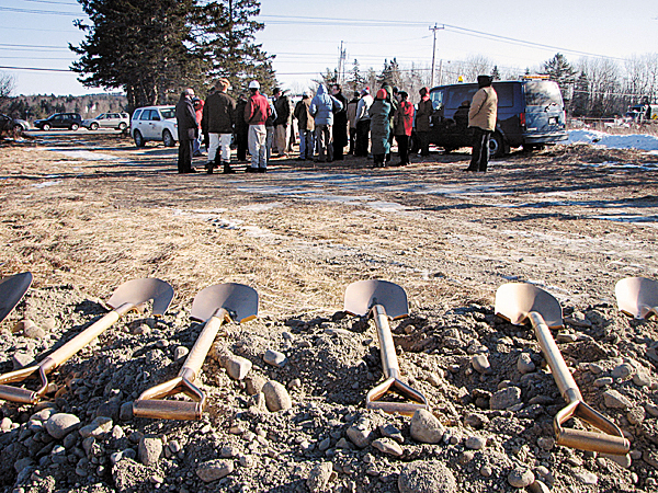 A group of people take part in the official Acadia Gateway Center groundbreaking ceremony on Route 3 in Trenton in 2009.