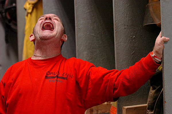 David Ledin lets out a big belly laugh at a training session Wednesday, Dec. 16, 2009 at the Etna Volunteer Fire Department which Ledin has volunteered at for several years. &quotJeez, he's a lot of fun to have around,&quot said Fire Chief Walter Gibbons of Ledin's involvement with the department. (Bangor Daily News/Bridget Brown)