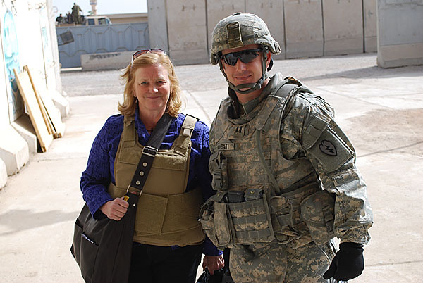 Pingree with US Soldier in Afghanistan   PHOTO COURTESY OF REPRESENTATIVE PINGREE