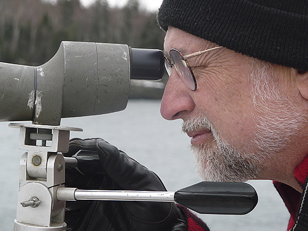 William Kolodnicki of Calais carefully counts sea birds Saturday at Campobello Island, N.B., during the Down East annual Audubon Christmas bird count. Thousands of participants across the country record birds during a two-week span over the Christmas and New Year holiday. Researchers use the data to track migration patterns, climate change and other issues that would affect bird populations. BANGOR DAILY NEWS PHOTO BY SHARON KILEY MACK