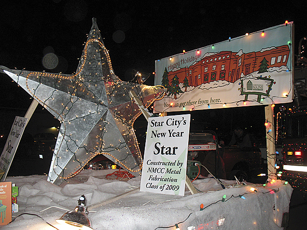 The Star City's New Year Star, constructed by Northern Maine Community College welding and metal fabrication students and instructor Dennis Albert, will make its way up the backside of the Key Bank building in downtown Presque Isle on New Year's Eve to help residents ring in the New Year. Music, movies, dancing and more will be a part of the Star City's First Night Celebration, which will be held in downtown Presque Isle beginning at 8 p.m. (PHOTO COURTESY OF NORTHERN MAINE COMMUNITY COLLEGE