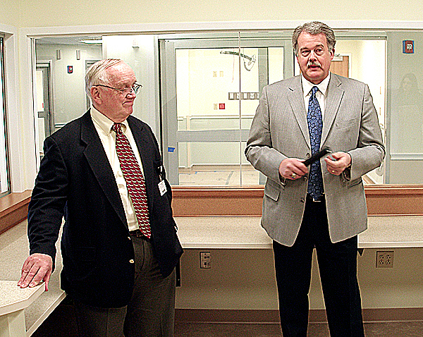Maine Coast Memorial Hospital intermim CEO Jack McCormack and board chairman Bob Merrill stand in the main nurses station of the hospital's new emergency center to discuss the $10 million project and a $500,000 donation it has received. The new facility, which will allow the hospital to provide quicker, more private service in a larger, more spacious space, is expected to open in March.  BANGOR DAILY NEWS PHOTO BY RICH HEWITT