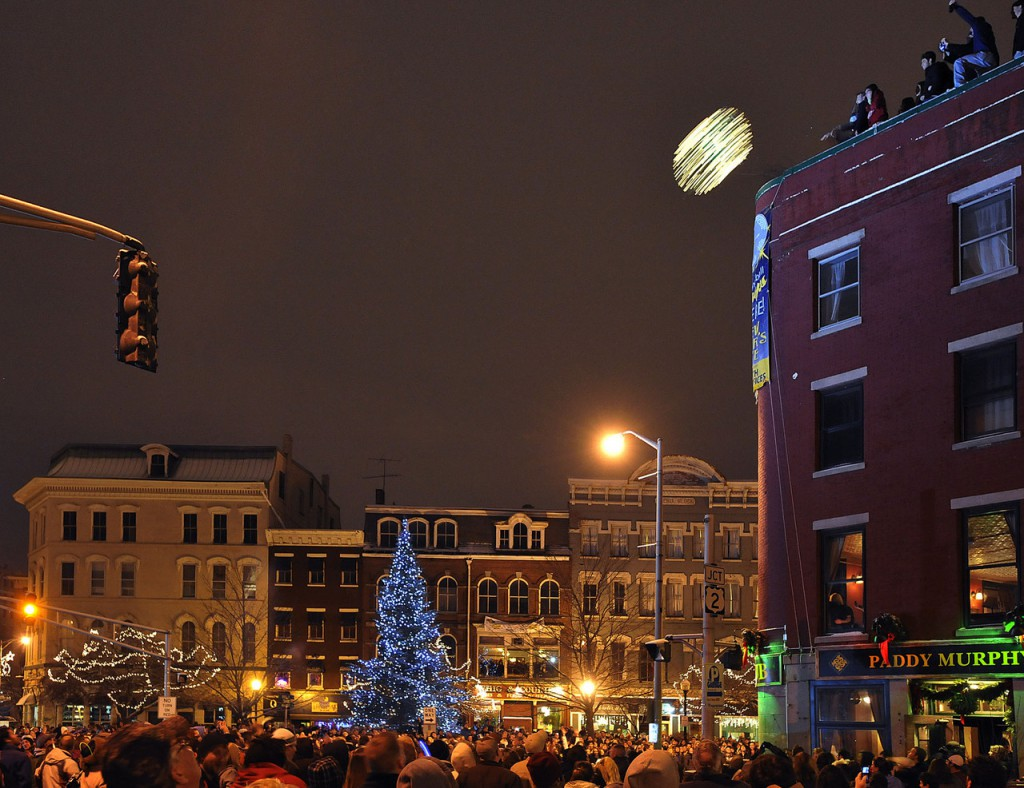 At the stroke of the New Year the glowing beach ball was tossed into the crowd gathered on Main Street, Bangor, Jan. 1, 2010.