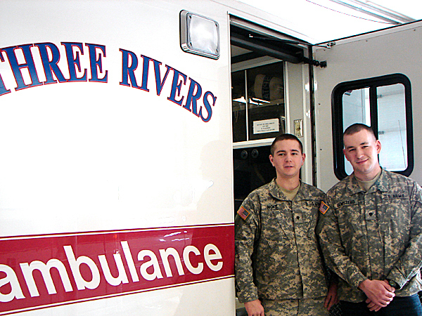 Kendall Noke, left and David Olmstead, licensed EMT Intermediate  paramedics with the Three Rivers Ambulance Service, will leave soon for  military duty in Afghanistan.  BANGOR DAILY NEWS PHOTO BY DIANA BOWLEY