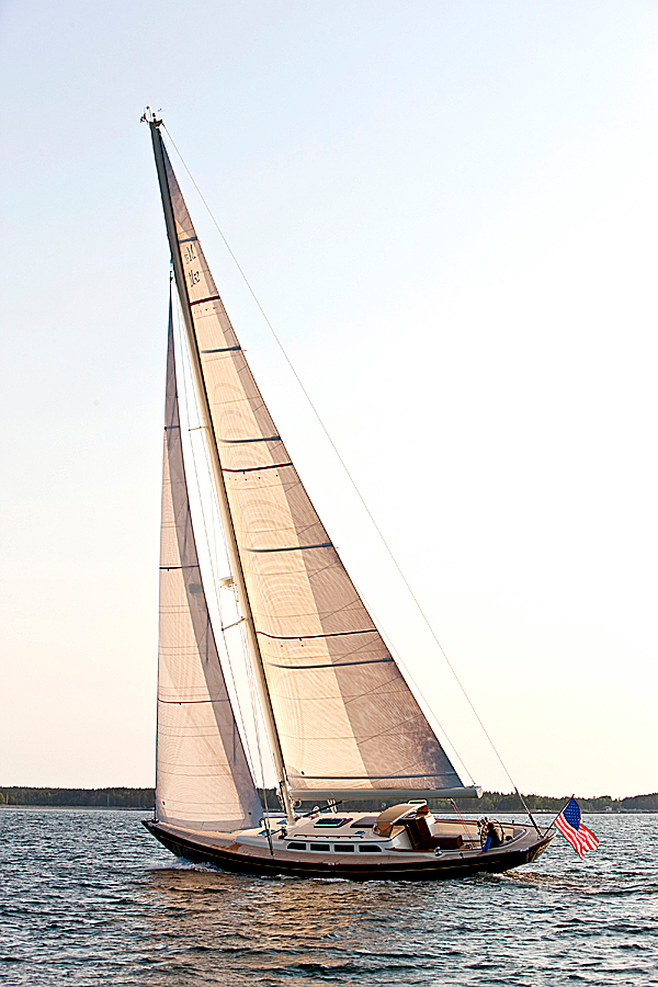 Morris Yacht's M52, a 52-foot daysailer, was honored recently with the Bristol Award in the annual Cruising World Magazine Boat of the Year contest. Morris 52 sailing off South West Hbr, Maine.  PHOTO COURTESY OF MORRIS YACHTS