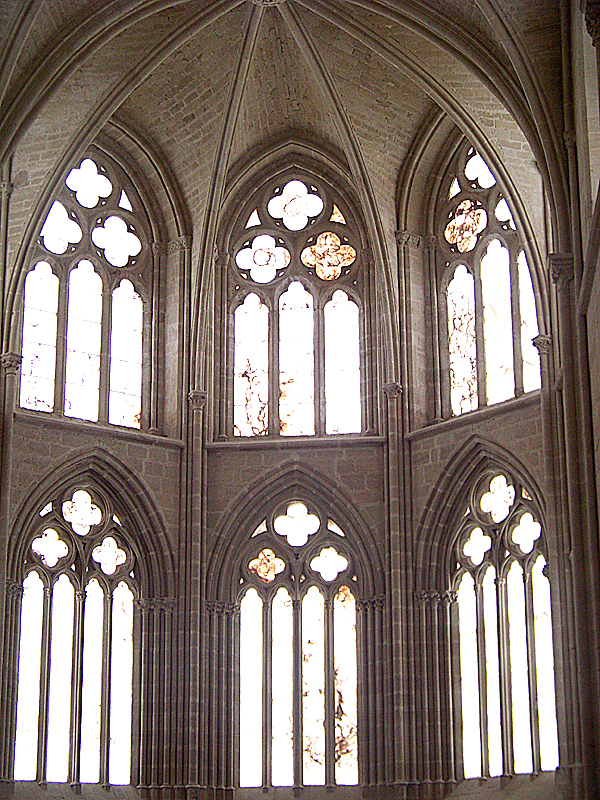 Sunlight shines through the alabaster windows of the Abbey of Santa Maria near the Camino de Santiago in northern Spain.  The beautiful Abbey was constructed in 1170 by the same order of nuns that still occupy it and is one of many historically important religious buildings found along the Camino and its environs.  LEVI BRIDGES PHOTO