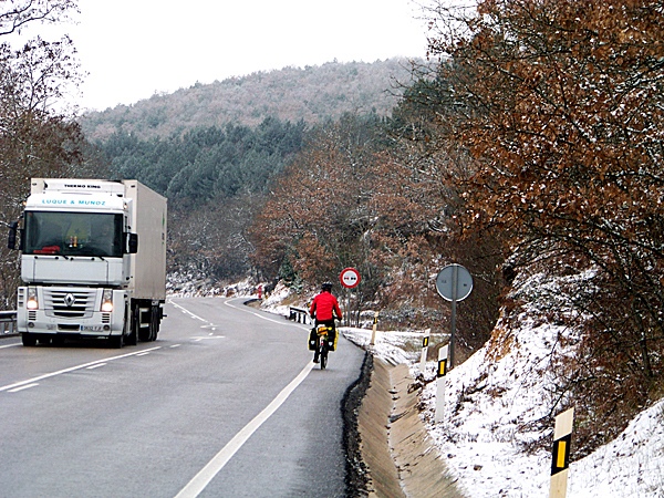 A early winter snow storm descends upon northern Spain. The New England cyclists barely made it over the slick roads of the last mountain they would cross on the Camino for several hundred miles. Patches of ice and snow that accumulate on mountain roadways can make cycling tricky and dangerous business. LEVI BRIDGES PHOTO