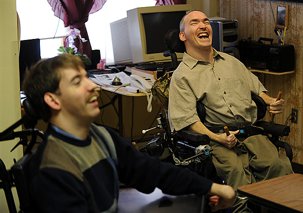 Eric Reeves, right, makes a joke during an interview at Penobscot Nursing Home on Saturday, December 26, 2009. Reeves,and fellow nursing home resident, Jake van Meter, left, are suing the state because their only living option is the nursing home. They both contend that living amidst people who are at the end stage of life is depressing for them. (Bangor Daily News/Kevin Bennett)