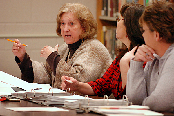 Woodland Elementary School principal Jane Smith (left) speaks at a Baileyville School Board Meeting on Tuesday, Jan. 5, 2010 at Woodland High School. Smith said they have reviewed and made changes to their bus policy for student drop-offs. BANGOR DAILY NEWS PHOTO BY BRIDGET BROWN