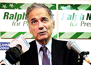 Independent presidential candidate Ralph Nader speaks during a news conference Tuesday, Oct. 5, 2004, in Portland, Maine. (AP Photo/Robert F. Bukaty)