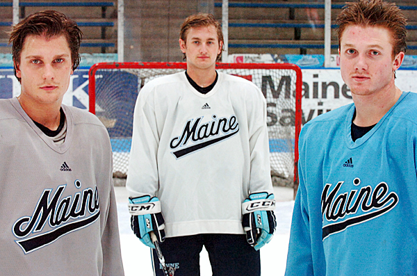 UMaine's Swedish hockey contingent includes (from left) Theo Andersson, Klas Ledermark and Gustav Nyquist. The three are pictured here after practice Wednesday, Jan. 6, 2010 at the Alfond Arena in Orono. BANGOR DAILY NEWS PHOTO BY BRIDGET BROWN