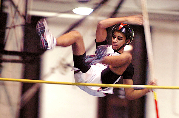 Bangor sophomore Jesiah Harris competes in the pole vault during the PVC-Eastern Maine Indoor Track meet Friday, Jan. 8, 2010 at the Field House in Orono.  BANGOR  DAILY NEWS PHOTO BY BRIDGET BROWN