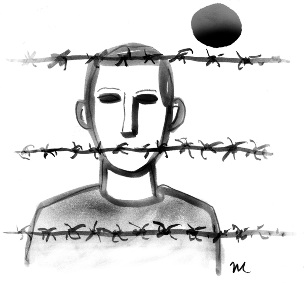 This artwork by Mark Weber relates to President Obama's decision to close the Guantanamo Bay detention facility.