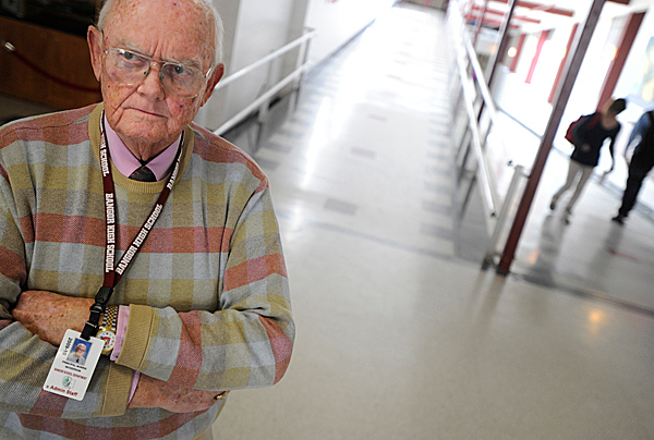 Norris Nickerson stands in one of the main hallways at Bangor High School where he has been the principal for more than 20 years. Nickerson says there will be no more dances affiliated with the school until students agree to stop simulating sex as they dance, also known as &quotgrinding.&quot    Photographed Tuesday afternoon, January 12, 2010. BANGOR DAILY NEWS PHOTO BY JOHN CLARKE RUSS