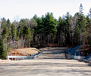 Crews this fall completed a section of the access road that will lead to Ellsworth's new waste water treatment plant. Construction of the rest of the road and the plant itself is scheduled to begin in May.  Photo Courtesy of Woodard and Curran