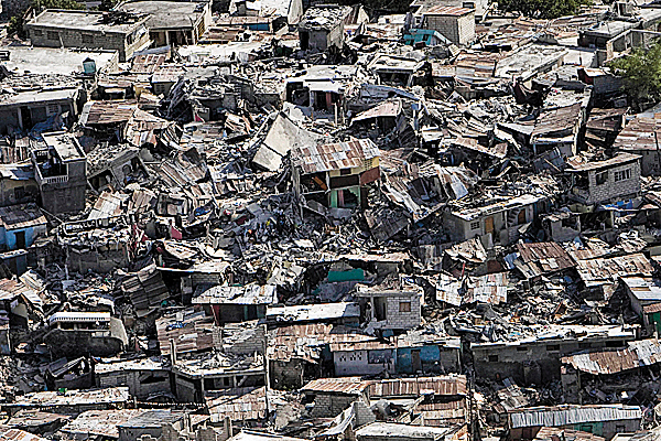 In this photo released by the United Nations, buildings affected by an earthquake lay in ruins in Port-au-Prince, Haiti, Wednesday, Jan. 13, 2010.  A 7.0-magnitude earthquake struck Haiti Tuesday.  AP PHOTO / UNITED NATIONS/ LOGAN ABASSI