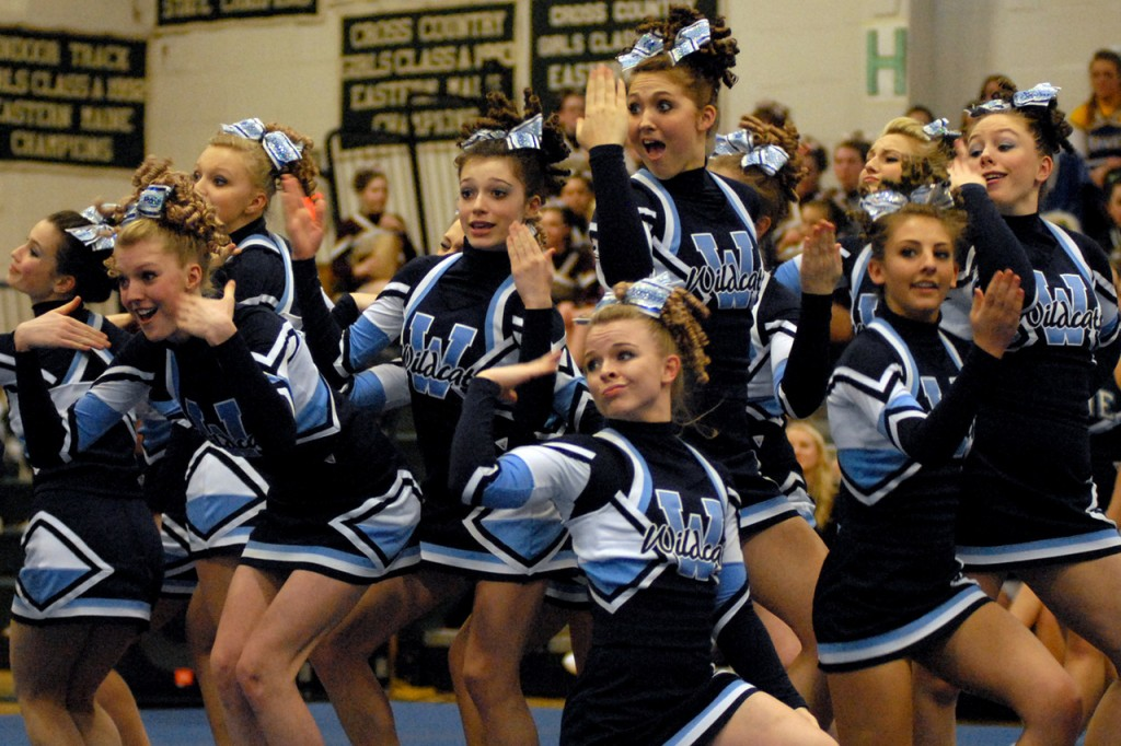 OLD TOWN, ME -- JANUARY 16, 2010 -- The Presque Isle Wildcats perform their routine at the Big East Cheering Competition at Old Town High School on Saturday.