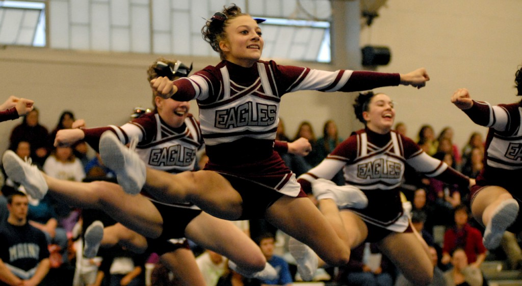 OLD TOWN, ME -- JANUARY 16, 2010 -- The Ellsworth Eagles, who placed second, perform their routine at the Big East Cheering Competition at Old Town High School on Saturday.