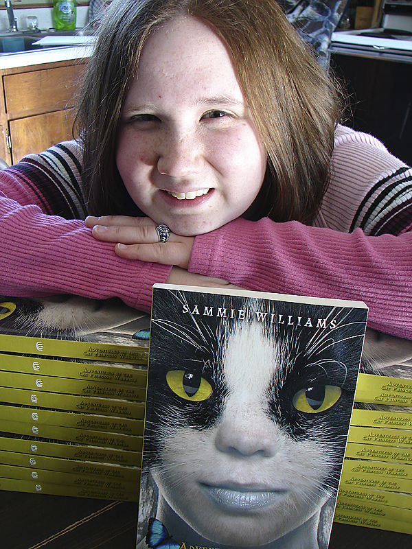 Samantha ''Sammie'' Williams, a junior at Piscataquis Community High  School has published her first book, ''Adventure of the Cat Princess  Warrior.'' Williams will be signing her new book on Jan. 30 at the  Guilford Memorial Library.  (Bangor Daily News Photo by Diana Bowley)