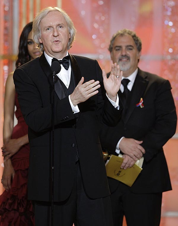 In this image released by NBC,  James Cameron, winner of best motion picture drama for &quotAvatar,&quot is shown on stage during the 67th Annual Golden Globe Awards held at the Beverly Hilton Hotel on Sunday, Jan. 17, 2010, in Beverly Hills, Calif. (AP Photo/NBC, Paul Drinkwater)