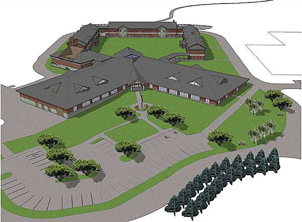 A drawing of  Phase I and Phase II of the Maine Army National Guard's Regional Training Institute at the Bangor Armed Forces Reserve Center. (Courtesy of Maine Army National Guard)