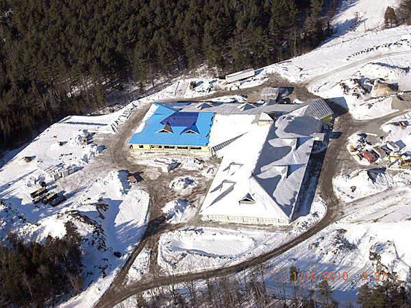 A recent aerial photo of  Phase I of the Maine Army National Guard's Regional Training Institute at the Bangor Armed Forces Reserve Center. (Photo courtesy of Maine Army National Guard)