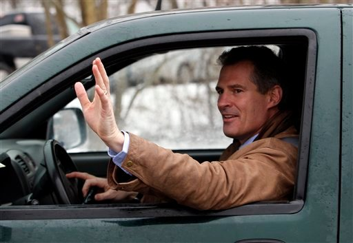 Massachusetts State Sen. Scott Brown, R-Wrentham, waves to supporters after voting Tuesday, Jan. 19, 2010. Brown is running against Democrat Attorney General  Martha Coakley in a special election to fill the U.S. Senate seat left empty by the death of Sen. Edward M. Kennedy, D-Mass. (AP Photo/Robert F. Bukaty)