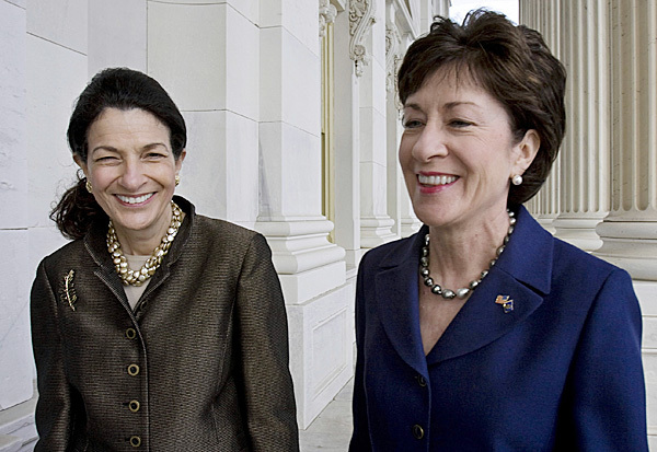 FILE - In this Oct. 22, 2009, file photo, Maine's Republican Senators, Olympia Snowe, left, and Susan Collins are seen on Capitol Hill in Washington.  (AP Photo/Harry Hamburg, File)
