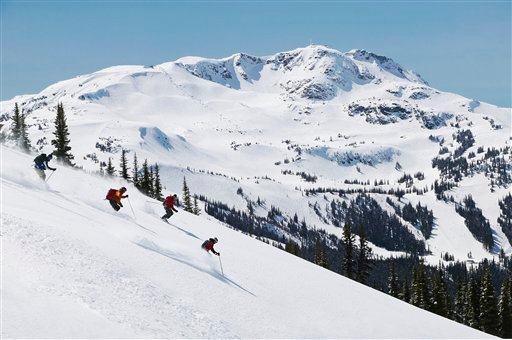 This photo released by Tourism British Columbia shows the back country skiing on Blackcomb Mountain, Whistler Blackcomb. (AP Photo/Tourism British Columbia,Randy Lincks)**NO SALES**