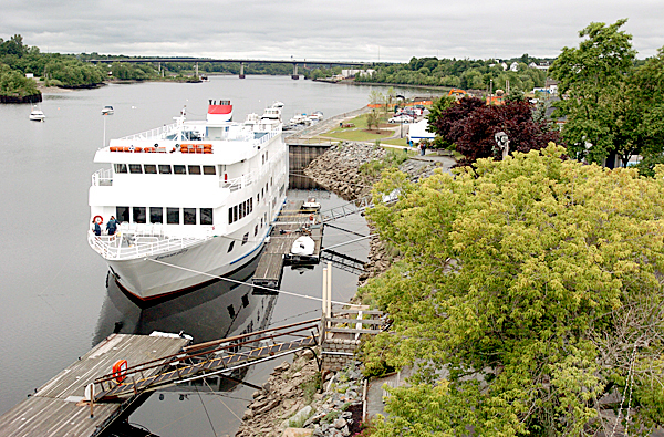 American Glory, a 168-foot cruise ship, docks at the Bangor Harbor on Friday, where it will be departing from every Saturday for a seven-day-cruise along the Maine coast.  The cruises continue through September 4.  BANGOR DAILY NEWS FILE PHOTO BY LINDA COAN O'KRESIK