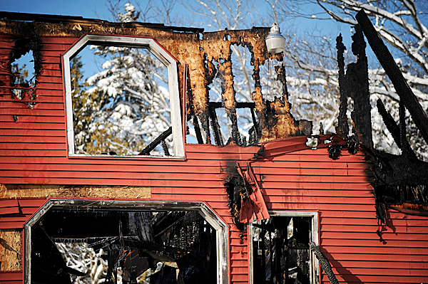 The remains of a barn on South Road in Holden that was destroyed by fire Wednesday night.  The owners said that they had some pet rabbits and chickens in the barn and, unfortunately, some of them died in the fire.  BANGOR DAILY NEWS PHOTO BY GABOR DEGRE