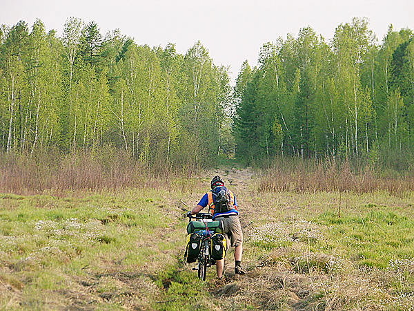 Some roads were better than others. Ellery Althaus pushes his bike along a muddy game trail in Siberia.  LEVI BRIDGES PHOTO