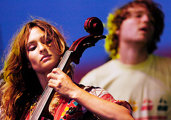 Cellist Alexandra Lawn, left, and keyboardist/vocalist Wesley Miles perform Saturday night with other members of the Syracuse indie rock band Ra Ra Riot at the KahBang Music and Arts Festival on Bangor's waterfront. BANGOR DAILY NEWS PHOTO BY JOHN CLARKE RUSS
