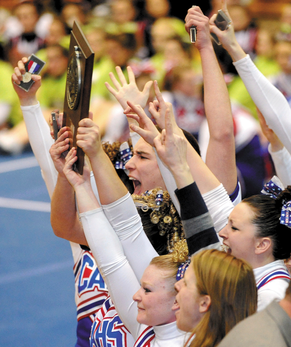 The Central Aroostook High School cheering squad celebrates their first place finish in the Class D Eastern Maine Cheering Championships at the bangor Auditorium Saturday. (Bangor Daily News/Gabor Degre)