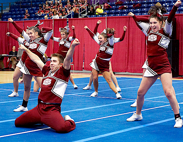 Members of Bangor High School's cheering personnel perform during their routine at the Augusta Civic Center, Augusta, Maine, Sat., Jan. 23, 2010.
