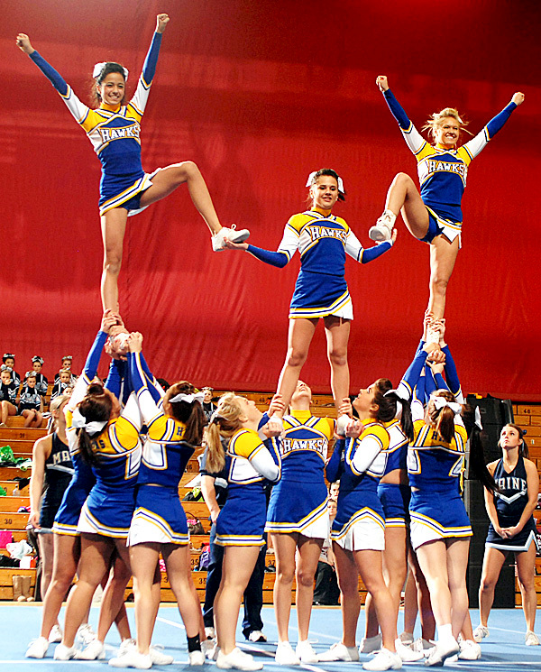 BANGOR, ME -- JANUARY 23, 2010 -- The Hermon Hawks won the Regional Cheerleading Competition on Saturday with a total of 140 points and will advance onto the State Championship.  PHOTO BY LINDA COAN O'KRESIK
